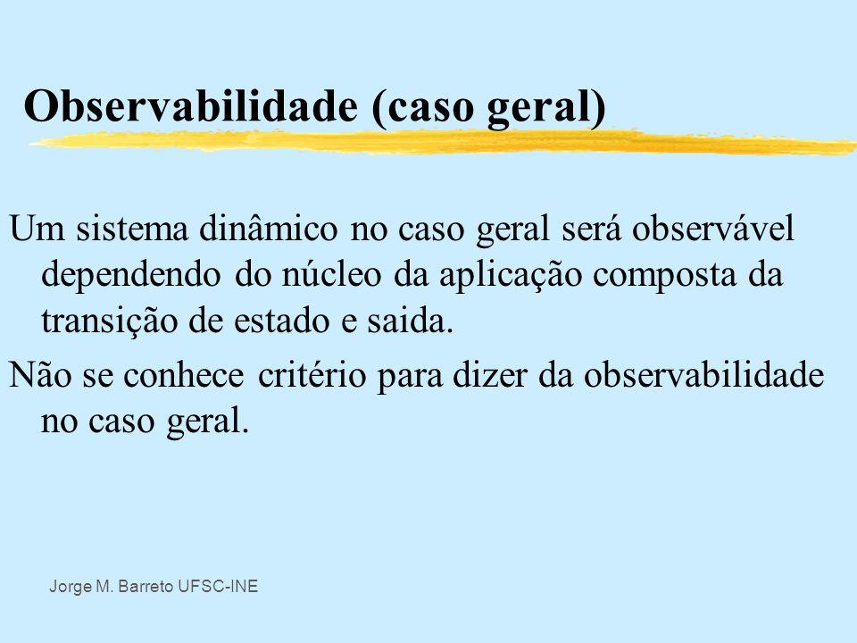 Jorge M. Barreto UFSC-INE Observabilidade zEste resultado, devido á Kalman (1960) apresentado no 1º Congresso do IFAC (International Federation on Aut