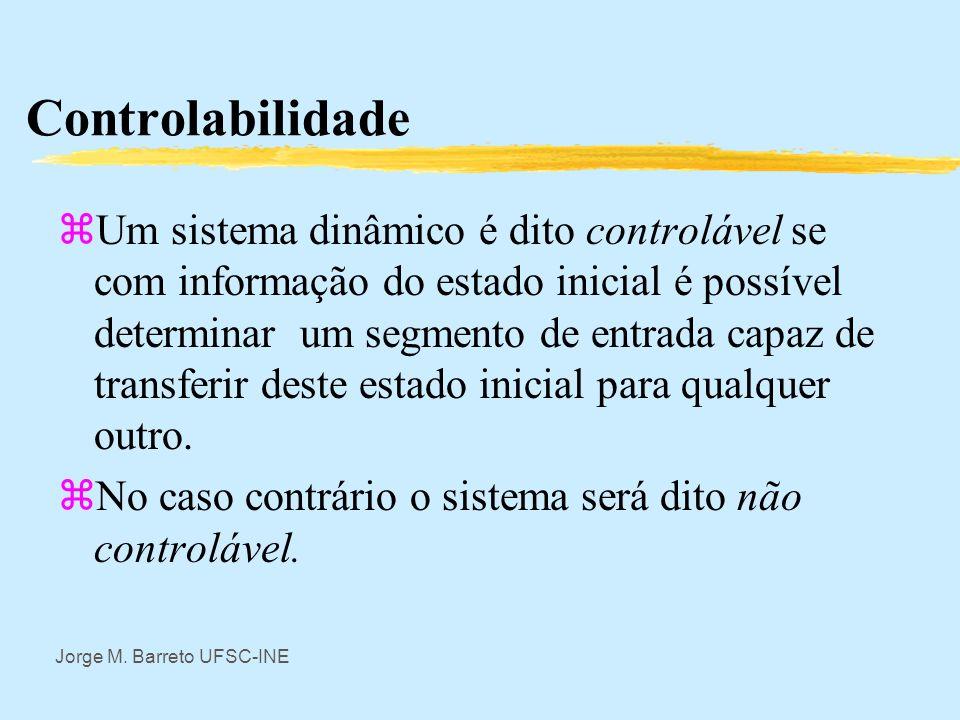 Jorge M. Barreto UFSC-INE Observabilidade (caso geral) Um sistema dinâmico no caso geral será observável dependendo do núcleo da aplicação composta da