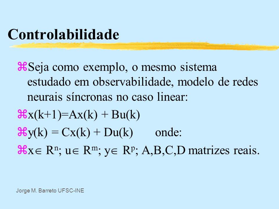 Jorge M. Barreto UFSC-INE Controlabilidade zUm sistema dinâmico é dito controlável se com informação do estado inicial é possível determinar um segmen