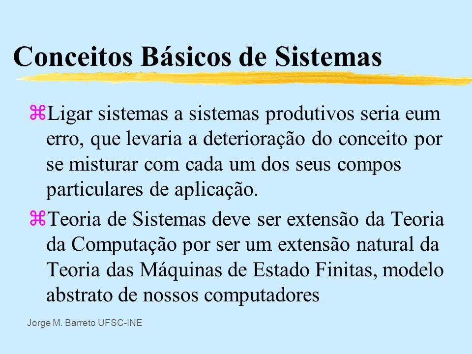 Jorge M. Barreto UFSC-INE Conceitos Básicos de Sistemas zClaro que Pesquisa Operacional usa noções sistêmicas ms seu uso é bem limitado. zRestringir s