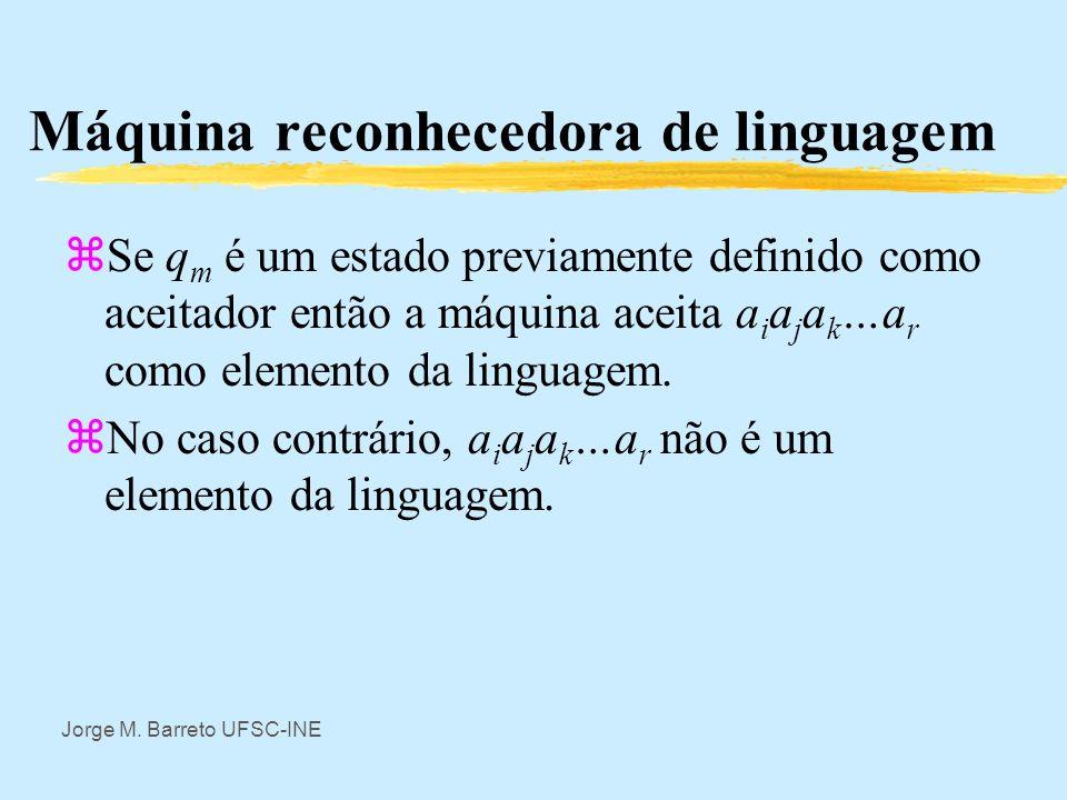 Jorge M. Barreto UFSC-INE Máquina reconhecedora de linguagem zQuando a máquina acaba de ler a fita observa- se em que estado ficou a máquina. Estados