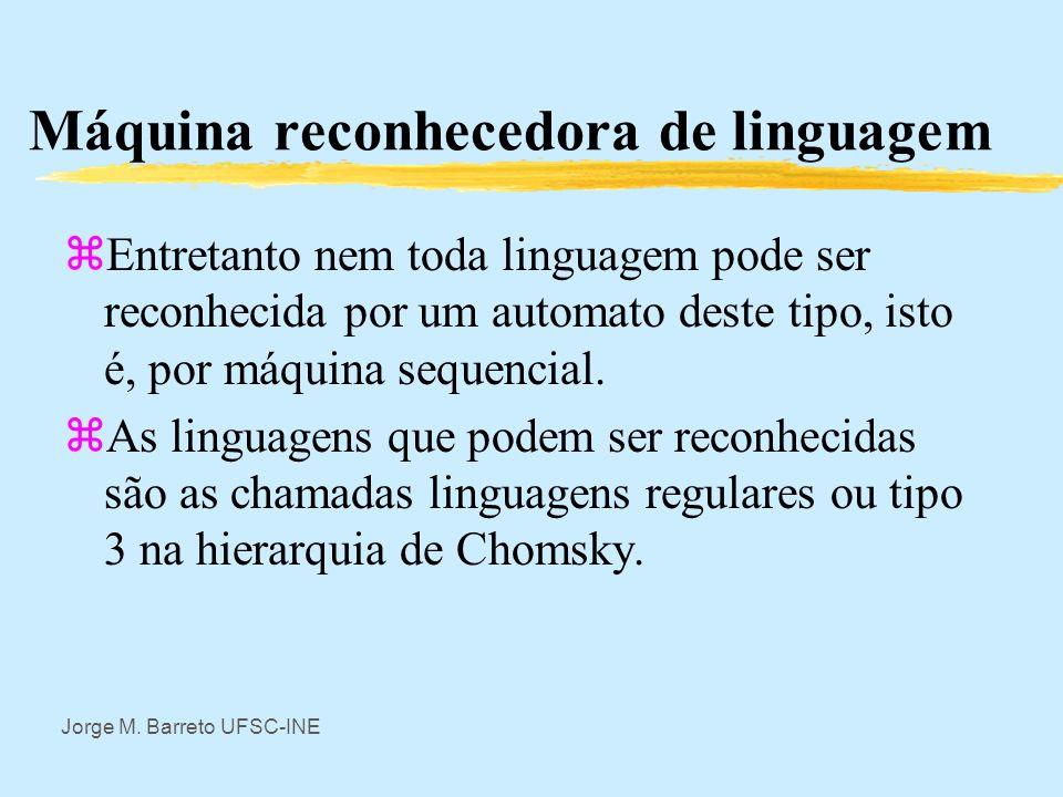 Jorge M. Barreto UFSC-INE Máquina reconhecedora de linguagem zSe q m é um estado previamente definido como aceitador então a máquina aceita a i a j a
