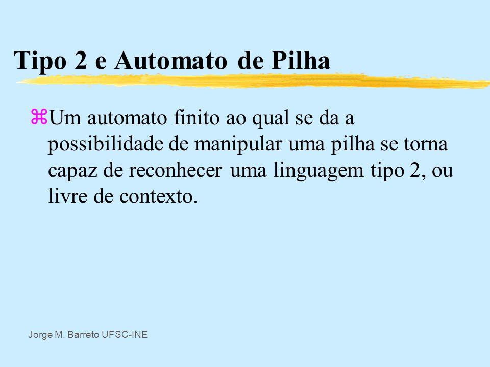 Jorge M. Barreto UFSC-INE Tipo 3 e Automato Finito zAssim uma linguagem tipo 3 pode ser reconhecida por um automato finito. Geralmente se usa o formal