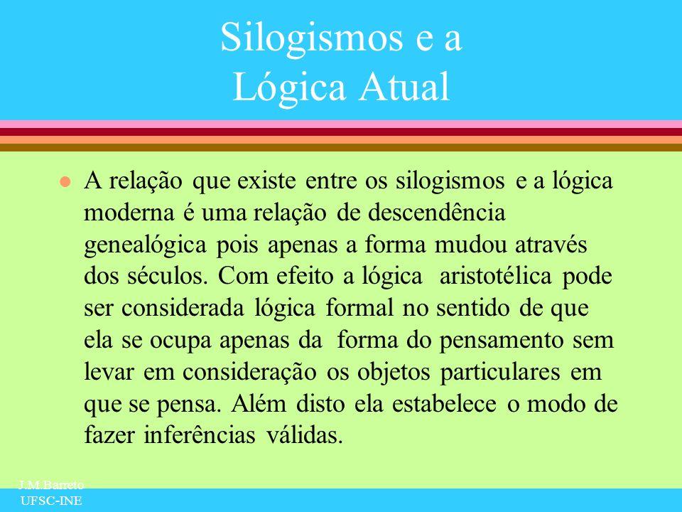J.M.Barreto UFSC-INE Silogismos e a Lógica Atual l A relação que existe entre os silogismos e a lógica moderna é uma relação de descendência genealógi
