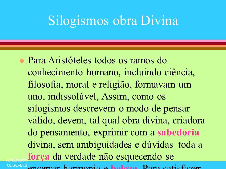 J.M.Barreto UFSC-INE Silogismos obra Divina l Para Aristóteles todos os ramos do conhecimento humano, incluindo ciência, filosofia, moral e religião,
