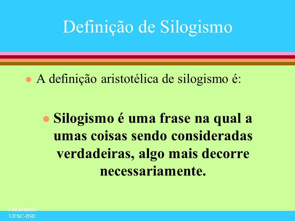 J.M.Barreto UFSC-INE Generalidade dos Silogismos l em todo o trabalho de Aristóteles não existe menção a objetos particulares, o que significa que o exemplo clássico de silogismo abaixo, não é aristotélico: Todos os homens são mortais Sócrates é um homem Então, Sócrates é mortal.