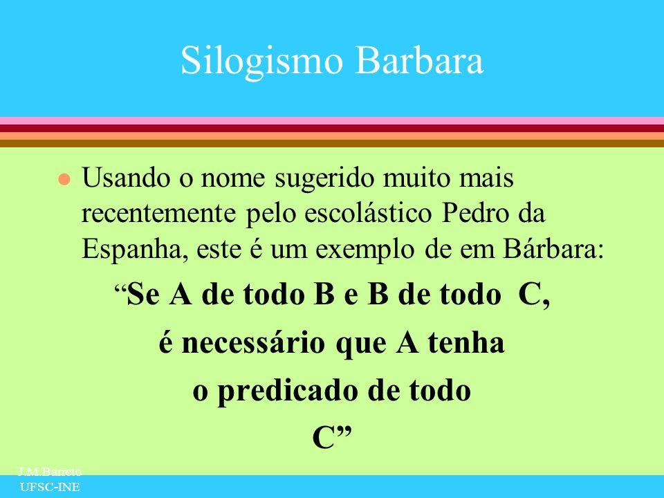 J.M.Barreto UFSC-INE Silogismo Barbara l Usando o nome sugerido muito mais recentemente pelo escolástico Pedro da Espanha, este é um exemplo de em Bár