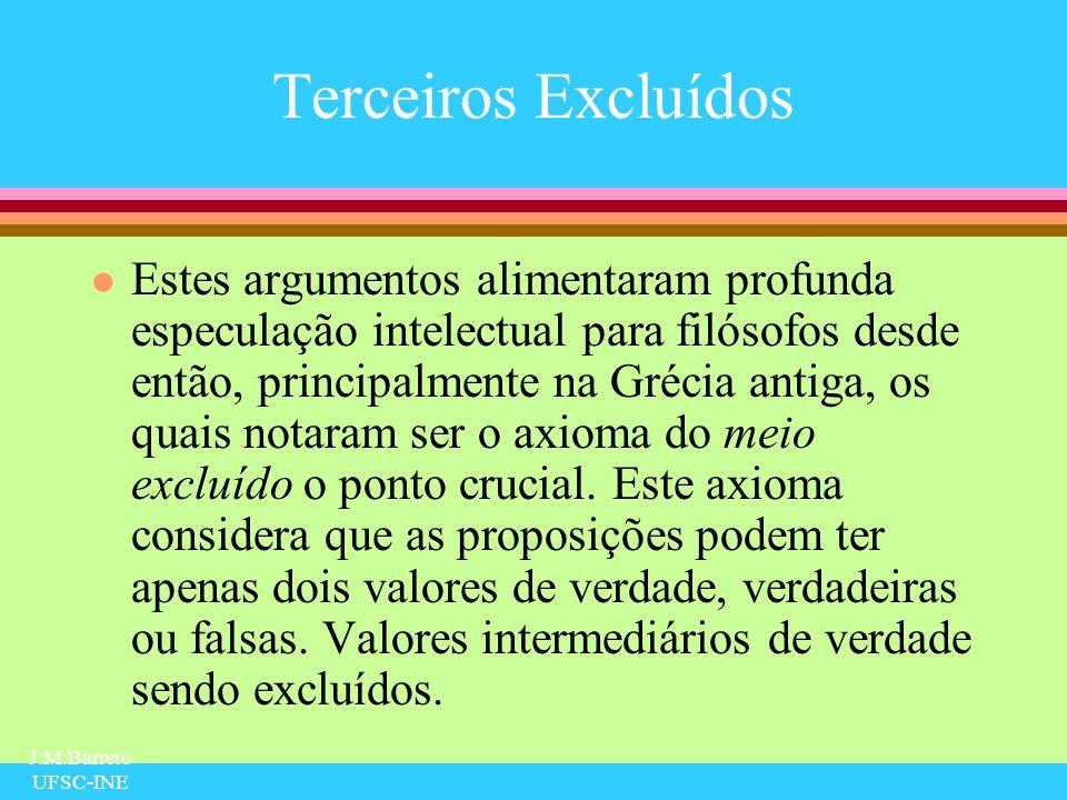 J.M.Barreto UFSC-INE Silogismos e a Lógica Atual l A relação que existe entre os silogismos e a lógica moderna é uma relação de descendência genealógica pois apenas a forma mudou através dos séculos.
