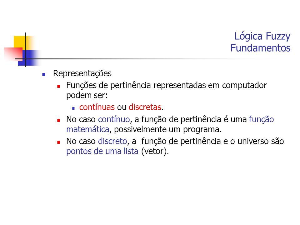 Lógica Fuzzy Fundamentos Representações Funções de pertinência representadas em computador podem ser: contínuas ou discretas. No caso contínuo, a funç