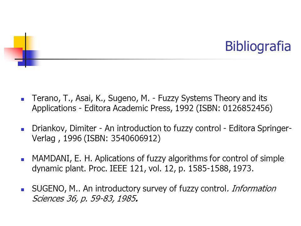 Bibliografia Terano, T., Asai, K., Sugeno, M. - Fuzzy Systems Theory and its Applications - Editora Academic Press, 1992 (ISBN: 0126852456) Driankov,