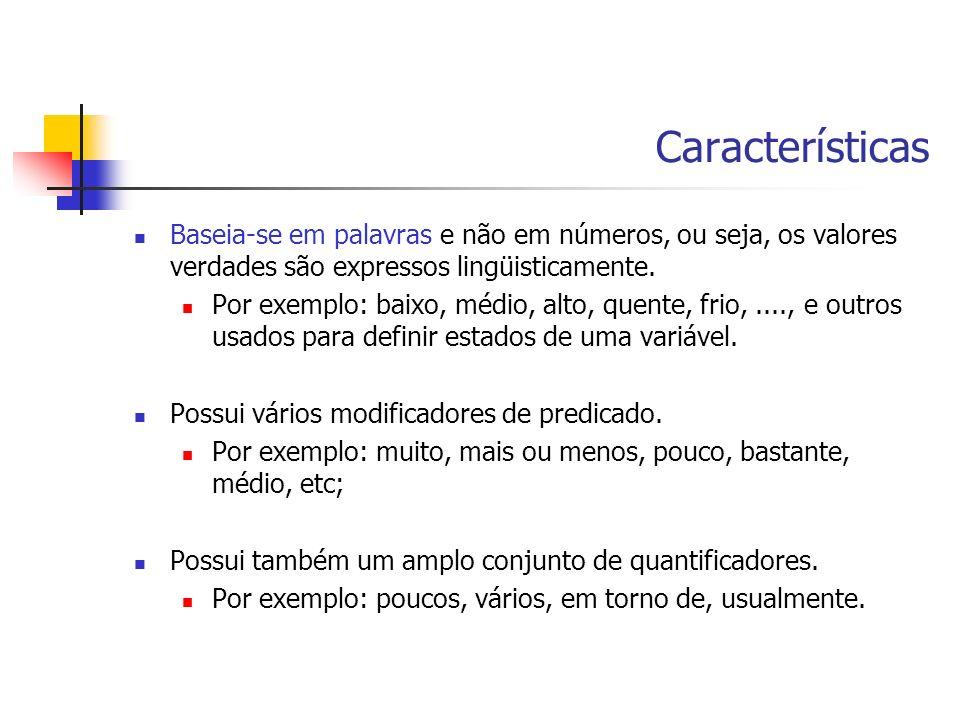 Características Baseia-se em palavras e não em números, ou seja, os valores verdades são expressos lingüisticamente. Por exemplo: baixo, médio, alto,