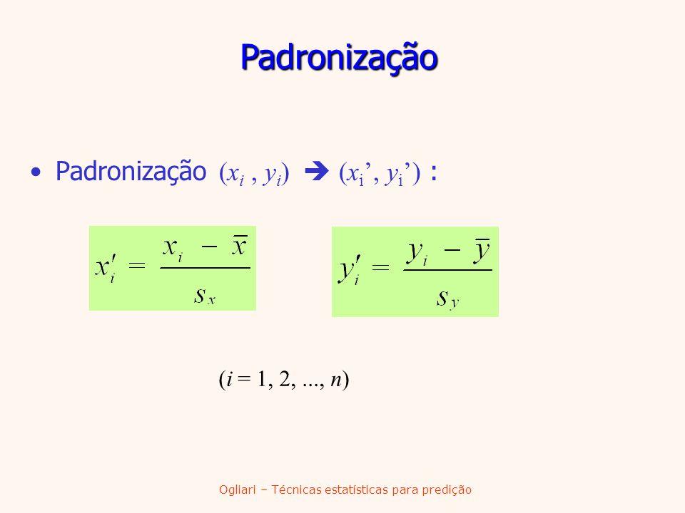 Padronização (x i, y i ) (x i, y i ) : (i = 1, 2,..., n) Padronização