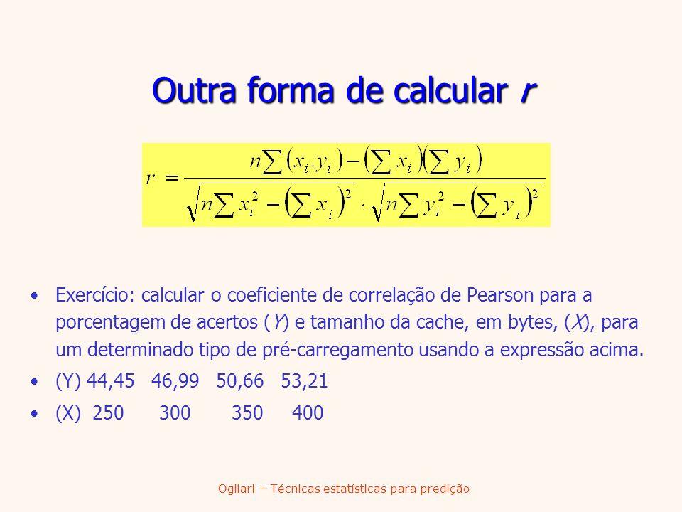 Ogliari – Técnicas estatísticas para predição Outra forma de calcular r Exercício: calcular o coeficiente de correlação de Pearson para a porcentagem