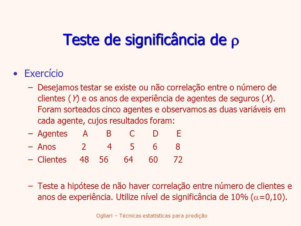 Ogliari – Técnicas estatísticas para predição Exercício –Desejamos testar se existe ou não correlação entre o número de clientes (Y) e os anos de expe
