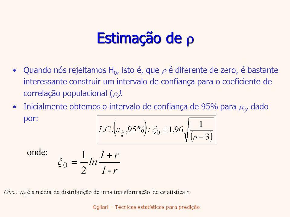 Ogliari – Técnicas estatísticas para predição Estimação de Estimação de Quando nós rejeitamos H 0, isto é, que é diferente de zero, é bastante interes