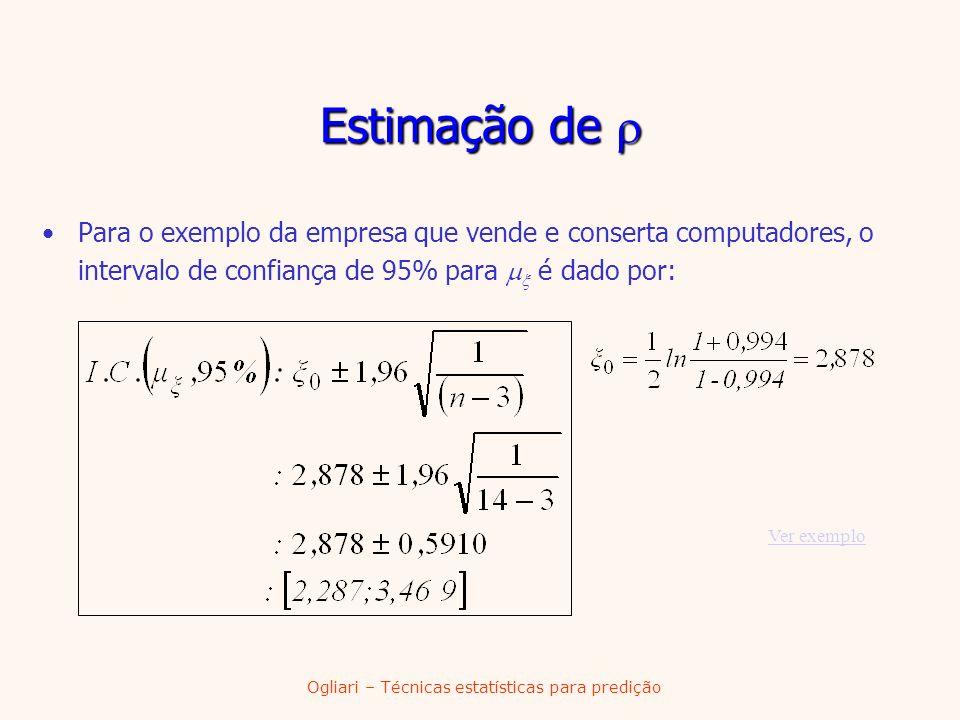 Ogliari – Técnicas estatísticas para predição Estimação de Estimação de Para o exemplo da empresa que vende e conserta computadores, o intervalo de co