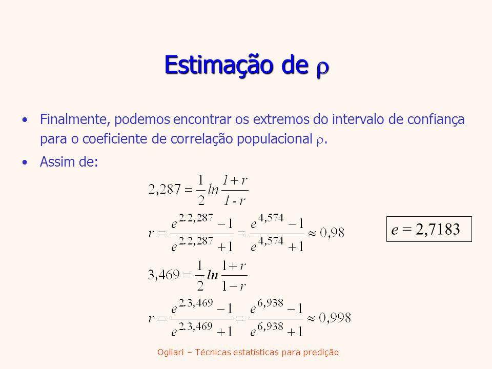 Ogliari – Técnicas estatísticas para predição Estimação de Estimação de Finalmente, podemos encontrar os extremos do intervalo de confiança para o coe