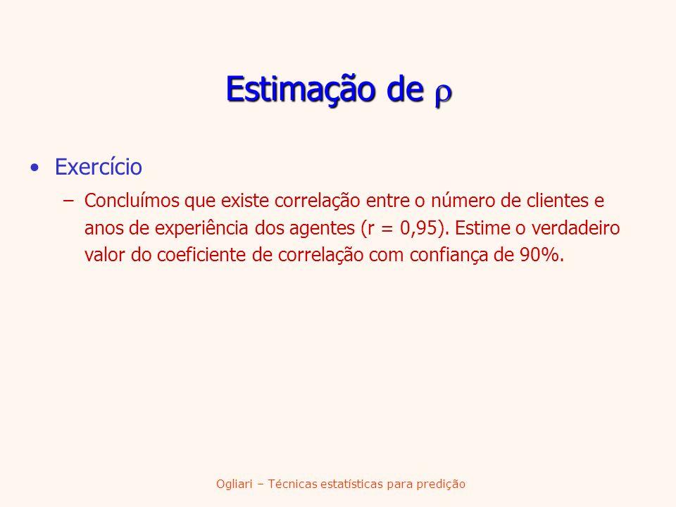 Ogliari – Técnicas estatísticas para predição Exercício –Concluímos que existe correlação entre o número de clientes e anos de experiência dos agentes