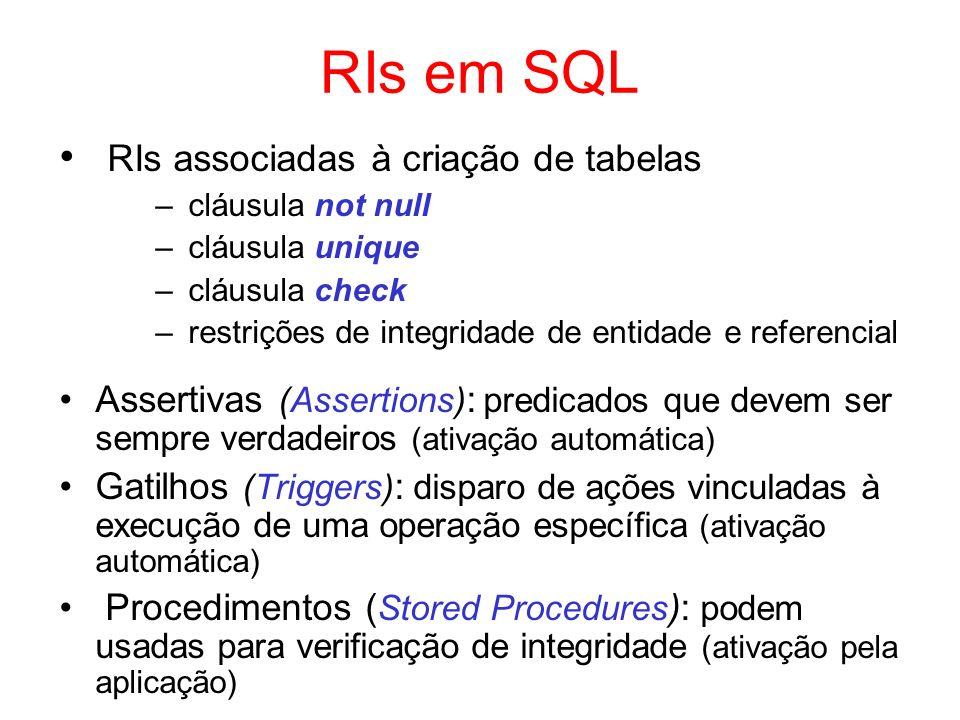 RIs em SQL RIs associadas à criação de tabelas – cláusula not null – cláusula unique – cláusula check – restrições de integridade de entidade e refere