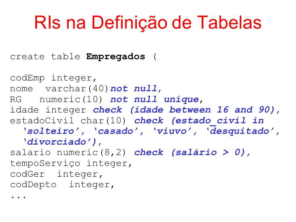 RIs na Definição de Tabelas create table Empregados ( codEmp integer, nome varchar(40)not null, RGnumeric(10) not null unique, idade integer check (id