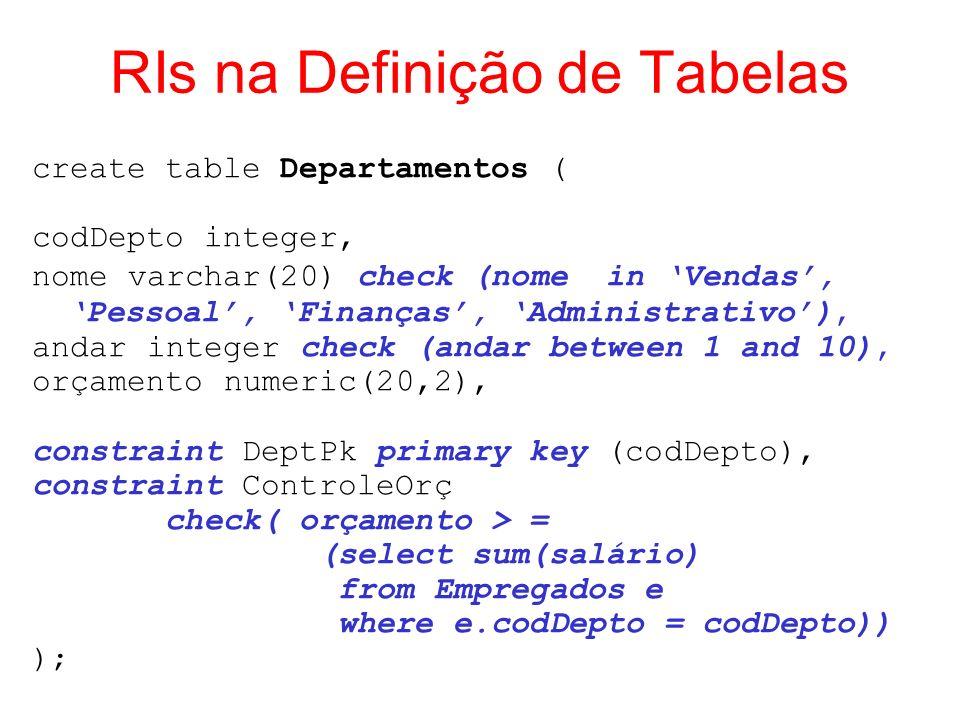 RIs na Definição de Tabelas create table Departamentos ( codDepto integer, nomevarchar(20) check (nome in Vendas, Pessoal, Finanças, Administrativo),