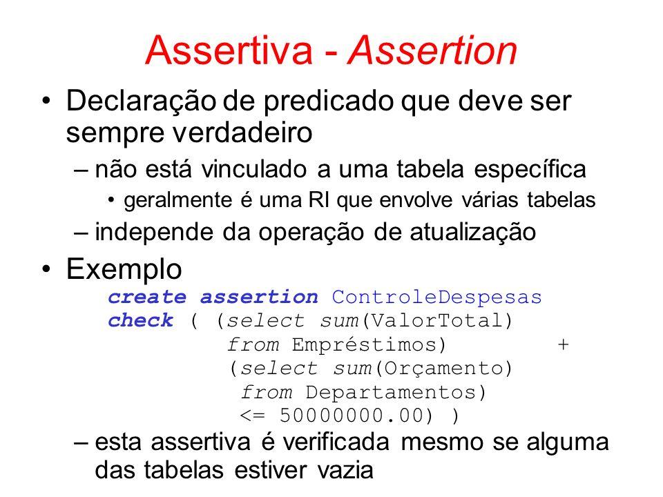 Assertiva - Assertion Declaração de predicado que deve ser sempre verdadeiro –não está vinculado a uma tabela específica geralmente é uma RI que envol