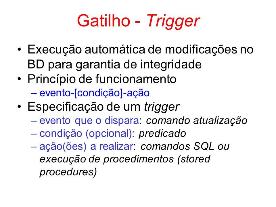 Gatilho - Trigger Execução automática de modificações no BD para garantia de integridade Princípio de funcionamento –evento-[condição]-ação Especifica