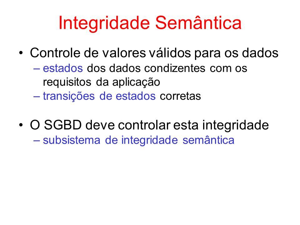 RIs na Definição de Tabelas create table Departamentos ( codDepto integer, nomevarchar(20) check (nome in Vendas, Pessoal, Finanças, Administrativo), andar integer check (andar between 1 and 10), orçamentonumeric(20,2), constraint DeptPk primary key (codDepto), constraint ControleOrç check( orçamento > = (select sum(salário) from Empregados e where e.codDepto = codDepto)) );