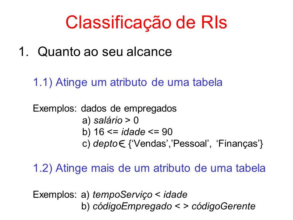 Classificação de RIs 1.Quanto ao seu alcance 1.1) Atinge um atributo de uma tabela Exemplos: dados de empregados a) salário > 0 b) 16 <= idade <= 90 c