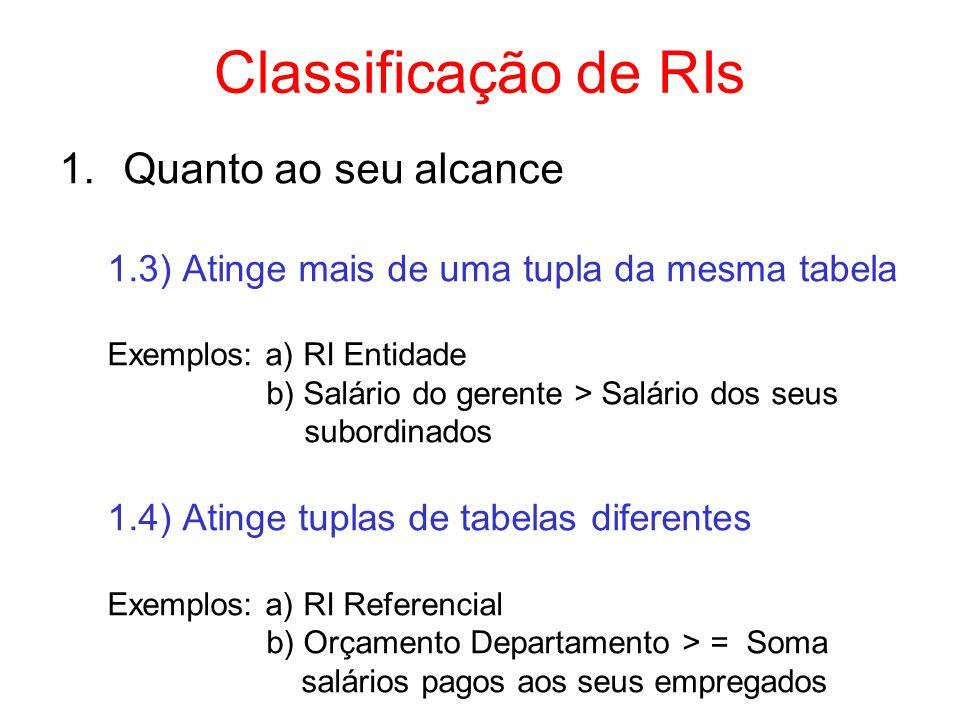 Classificação de RIs 2.Quanto ao momento de verificação 2.1) Imediato –verificação feita no momento da ocorrência de uma operação de atualização 2.2) Postergado –verificação feita após o término da transação –executa rollback em caso de violação Exemplos: a) alteração de código dos departamentos: d0,d1,d2,...,dn d1,d2,d3,...,dn+1 b) alteração do salário de vários empregados e verificação do orçamento do departamento