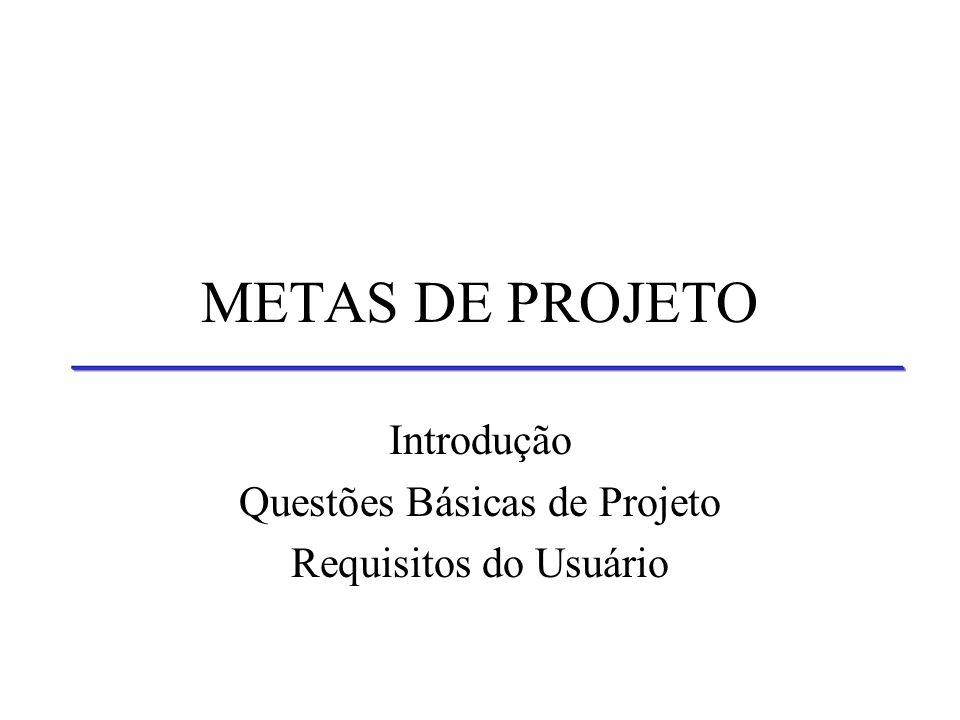 METAS DE PROJETO Introdução Questões Básicas de Projeto Requisitos do Usuário