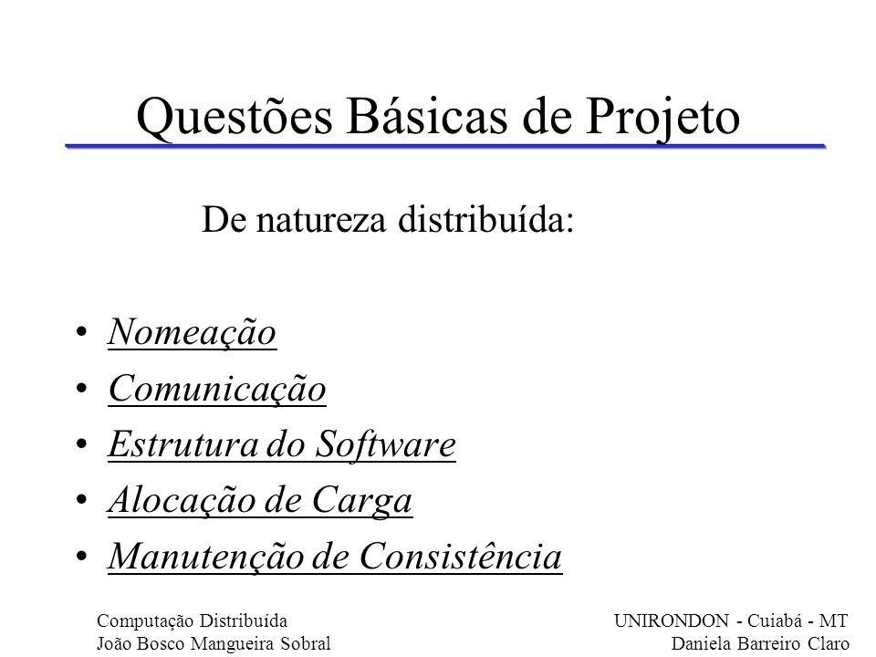 Questões Básicas de Projeto De natureza distribuída: Nomeação Comunicação Estrutura do Software Alocação de Carga Manutenção de Consistência Computaçã