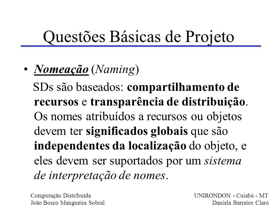 Questões Básicas de Projeto Nomeação (Naming) SDs são baseados: compartilhamento de recursos e transparência de distribuição. Os nomes atribuídos a re