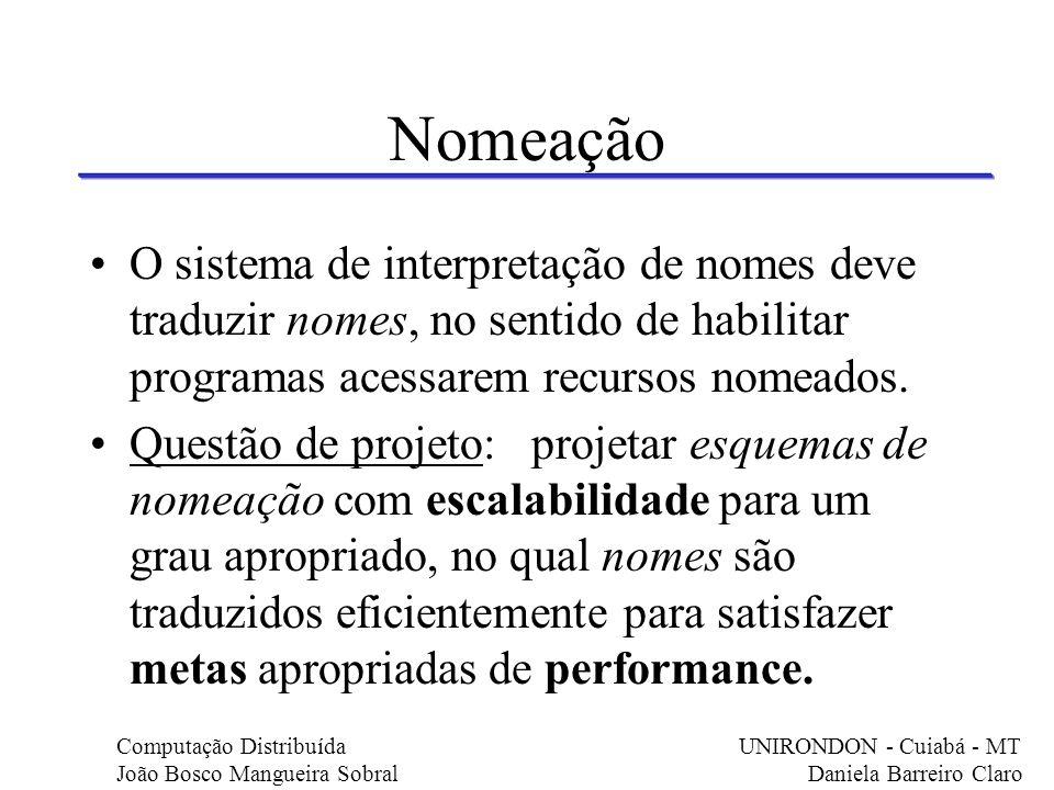 Nomeação O sistema de interpretação de nomes deve traduzir nomes, no sentido de habilitar programas acessarem recursos nomeados. Questão de projeto: p