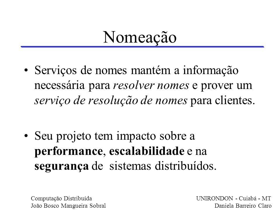 Nomeação Serviços de nomes mantém a informação necessária para resolver nomes e prover um serviço de resolução de nomes para clientes. Seu projeto tem