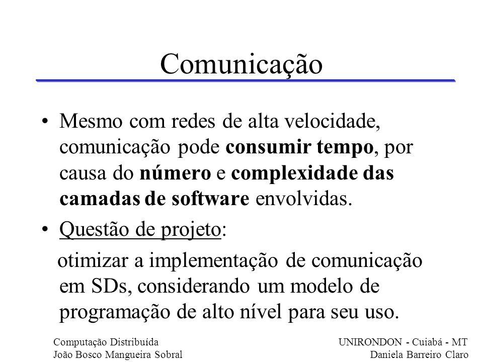 Comunicação Mesmo com redes de alta velocidade, comunicação pode consumir tempo, por causa do número e complexidade das camadas de software envolvidas