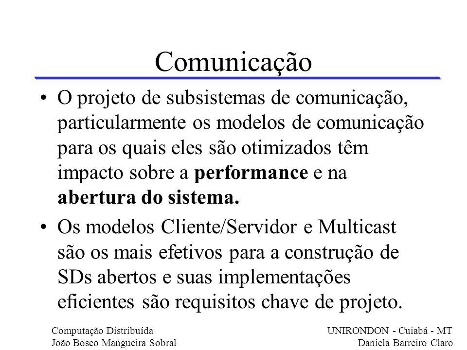 Comunicação O projeto de subsistemas de comunicação, particularmente os modelos de comunicação para os quais eles são otimizados têm impacto sobre a p