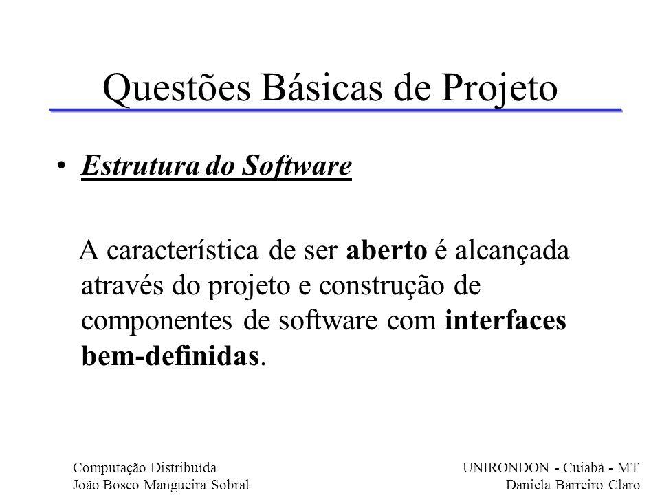 Questões Básicas de Projeto Estrutura do Software A característica de ser aberto é alcançada através do projeto e construção de componentes de softwar