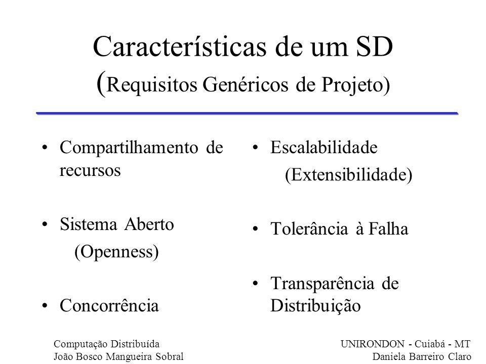 Características de um SD ( Requisitos Genéricos de Projeto) Compartilhamento de recursos Sistema Aberto (Openness) Concorrência Escalabilidade (Extens