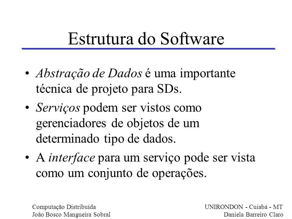 Estrutura do Software Abstração de Dados é uma importante técnica de projeto para SDs. Serviços podem ser vistos como gerenciadores de objetos de um d