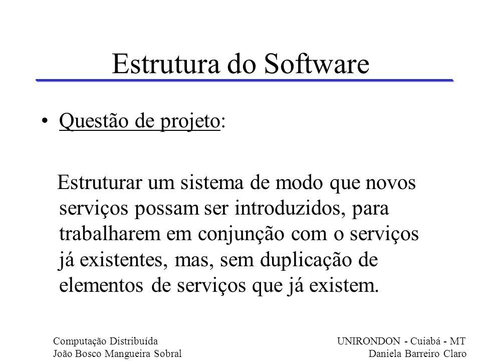 Estrutura do Software Questão de projeto: Estruturar um sistema de modo que novos serviços possam ser introduzidos, para trabalharem em conjunção com