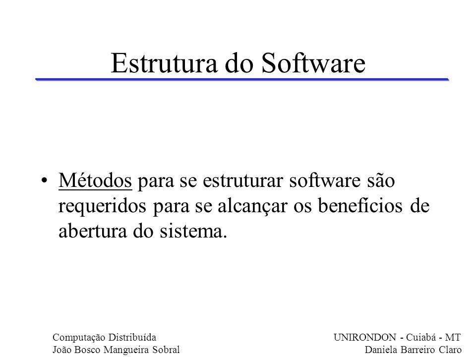 Estrutura do Software Métodos para se estruturar software são requeridos para se alcançar os benefícios de abertura do sistema. Computação Distribuída