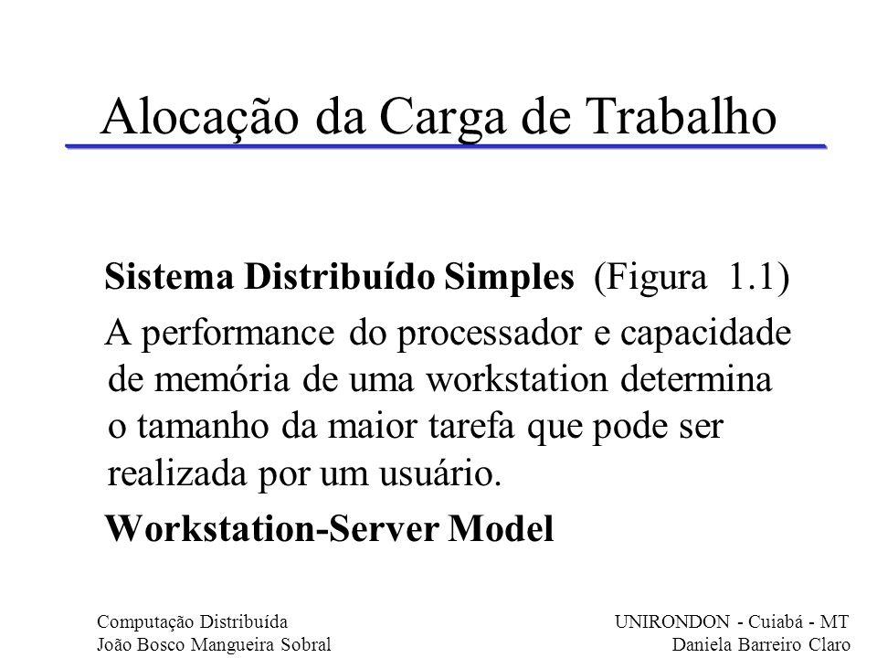 Alocação da Carga de Trabalho Sistema Distribuído Simples (Figura 1.1) A performance do processador e capacidade de memória de uma workstation determi