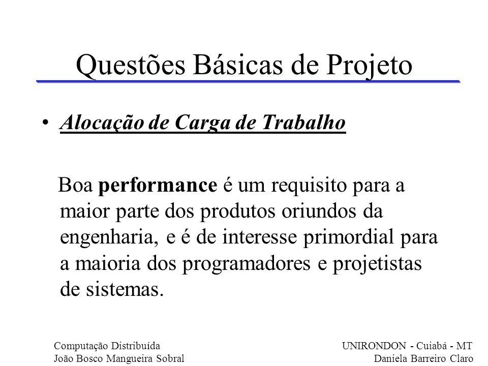 Questões Básicas de Projeto Alocação de Carga de Trabalho Boa performance é um requisito para a maior parte dos produtos oriundos da engenharia, e é d