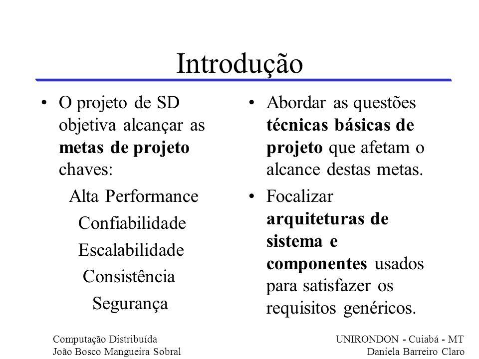 Introdução O projeto de SD objetiva alcançar as metas de projeto chaves: Alta Performance Confiabilidade Escalabilidade Consistência Segurança Abordar