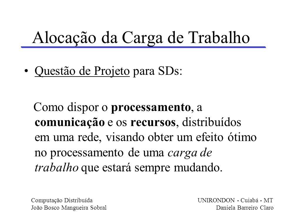 Alocação da Carga de Trabalho Questão de Projeto para SDs: Como dispor o processamento, a comunicação e os recursos, distribuídos em uma rede, visando