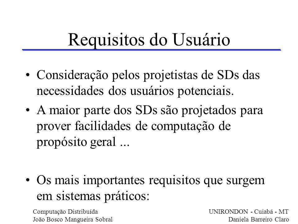 Requisitos do Usuário Consideração pelos projetistas de SDs das necessidades dos usuários potenciais. A maior parte dos SDs são projetados para prover