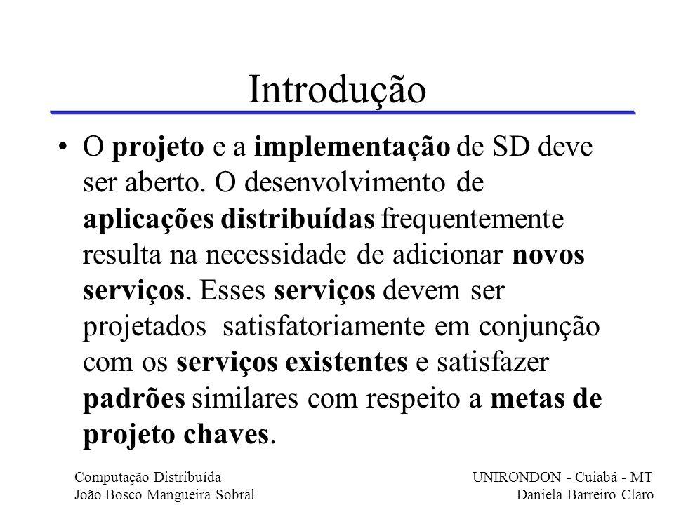 Introdução O projeto e a implementação de SD deve ser aberto. O desenvolvimento de aplicações distribuídas frequentemente resulta na necessidade de ad