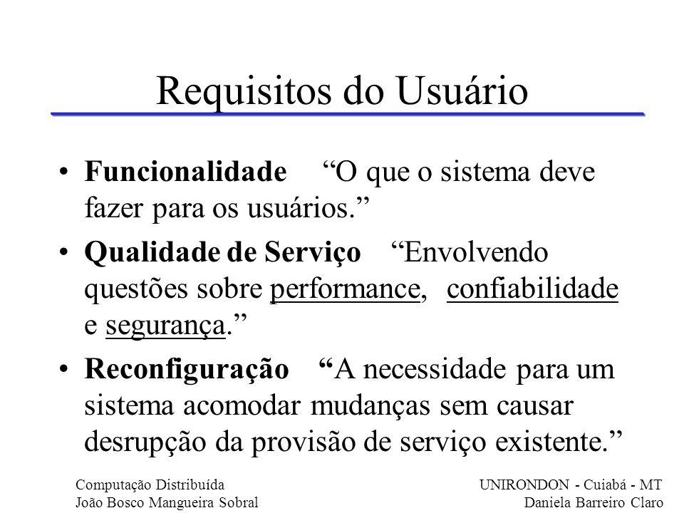 Requisitos do Usuário Funcionalidade O que o sistema deve fazer para os usuários. Qualidade de Serviço Envolvendo questões sobre performance, confiabi