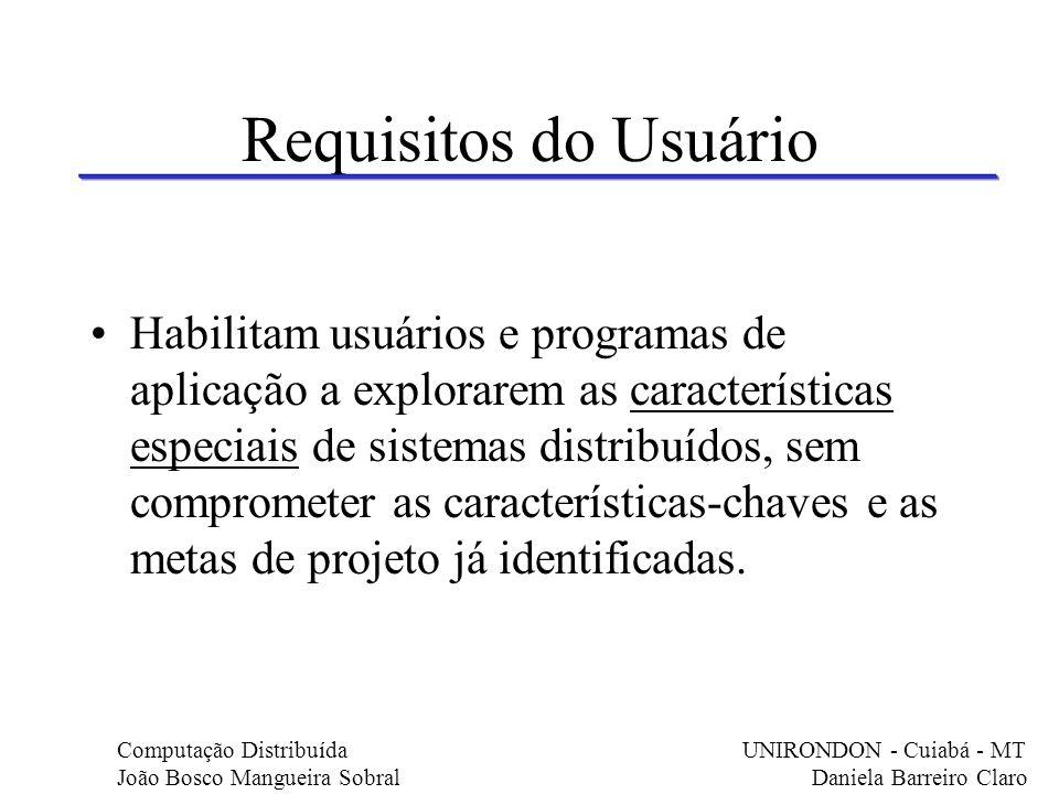 Requisitos do Usuário Habilitam usuários e programas de aplicação a explorarem as características especiais de sistemas distribuídos, sem comprometer